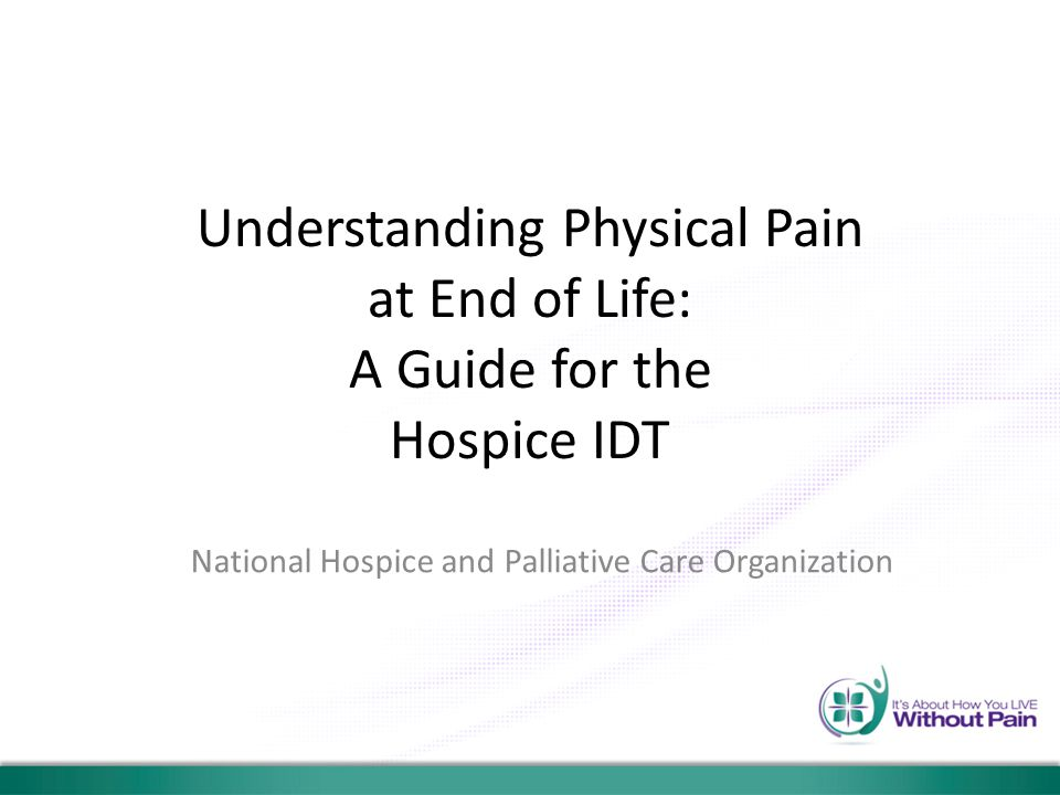 Understanding Physical Pain at End of Life: A Guide for the Hospice IDT National Hospice and Palliative Care Organization