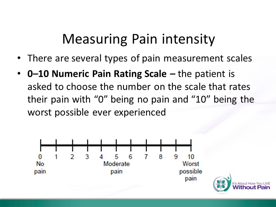 Measuring Pain intensity There are several types of pain measurement scales 0–10 Numeric Pain Rating Scale – the patient is asked to choose the number