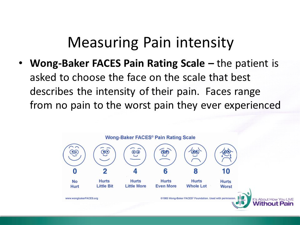 Measuring Pain intensity Wong-Baker FACES Pain Rating Scale – the patient is asked to choose the face on the scale that best describes the intensity o
