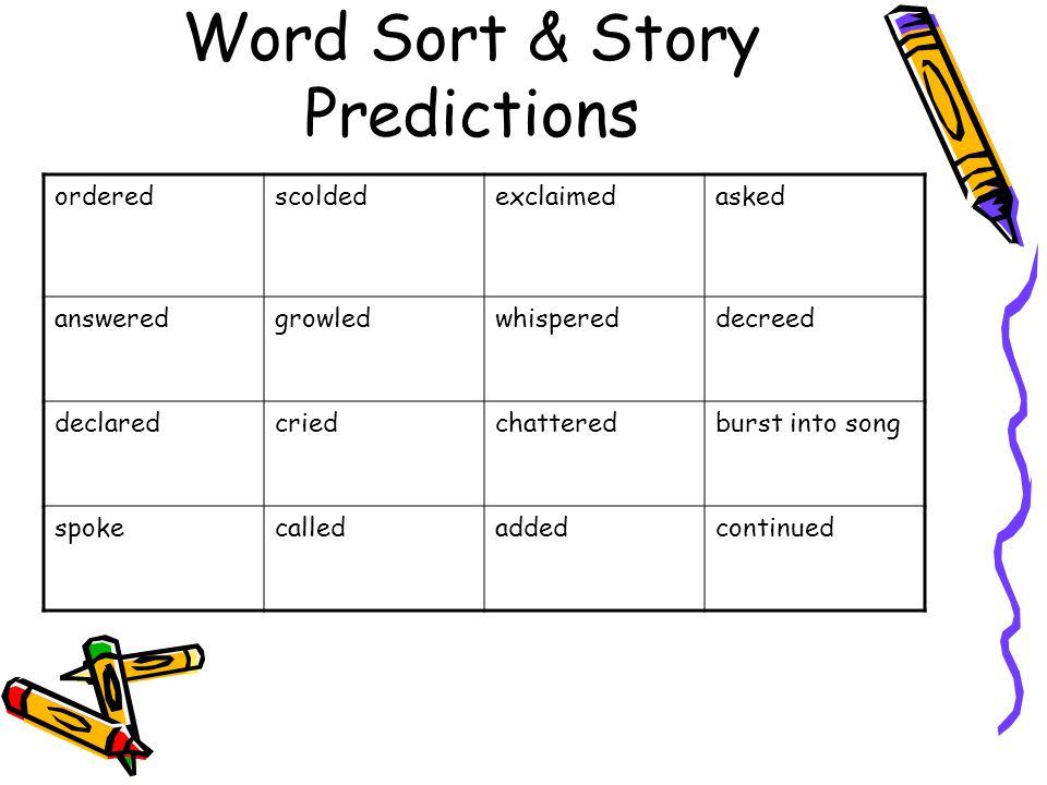 Word Sort & Story Predictions orderedscoldedexclaimedasked answeredgrowledwhispereddecreed declaredcriedchatteredburst into song spokecalledaddedconti