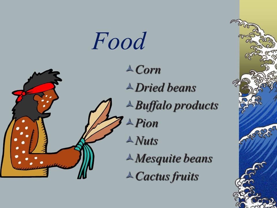 Food Corn Corn Dried beans Dried beans Buffalo products Buffalo products Pion Pion Nuts Nuts Mesquite beans Mesquite beans Cactus fruits Cactus fruits