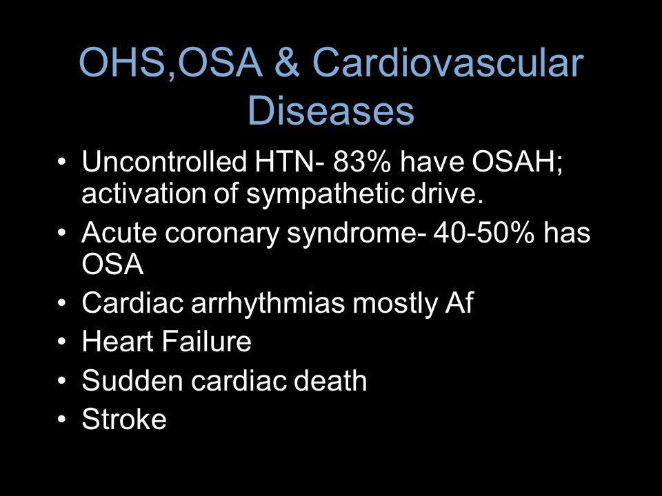 OHS,OSA & Cardiovascular Diseases Uncontrolled HTN- 83% have OSAH; activation of sympathetic drive. Acute coronary syndrome- 40-50% has OSA Cardiac ar