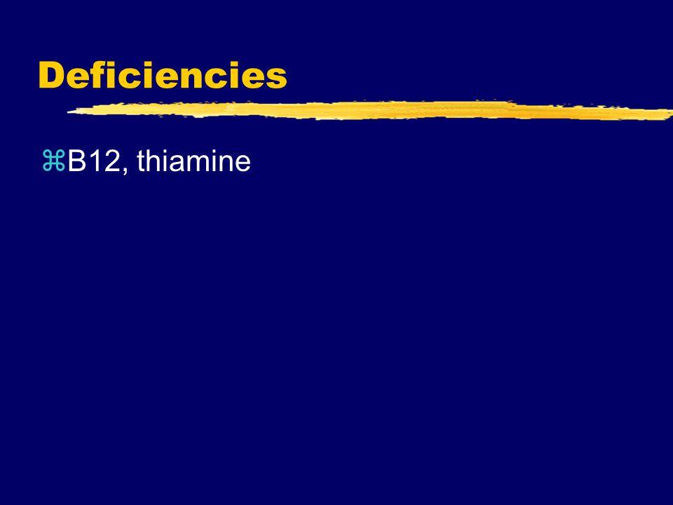 Deficiencies zB12, thiamine