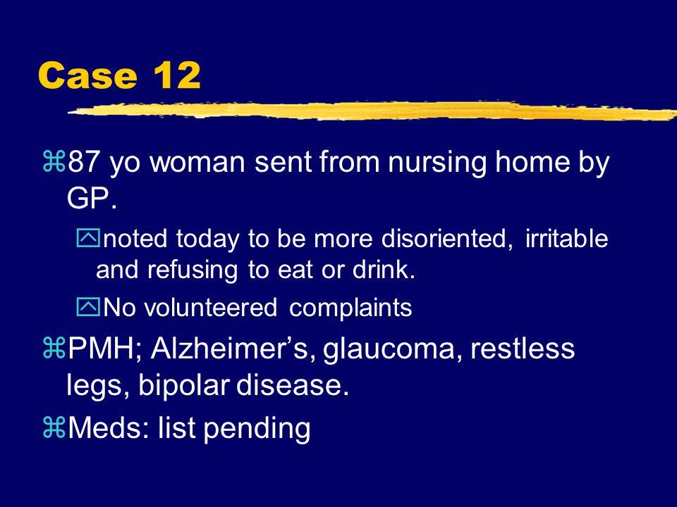 Case 12 z87 yo woman sent from nursing home by GP.