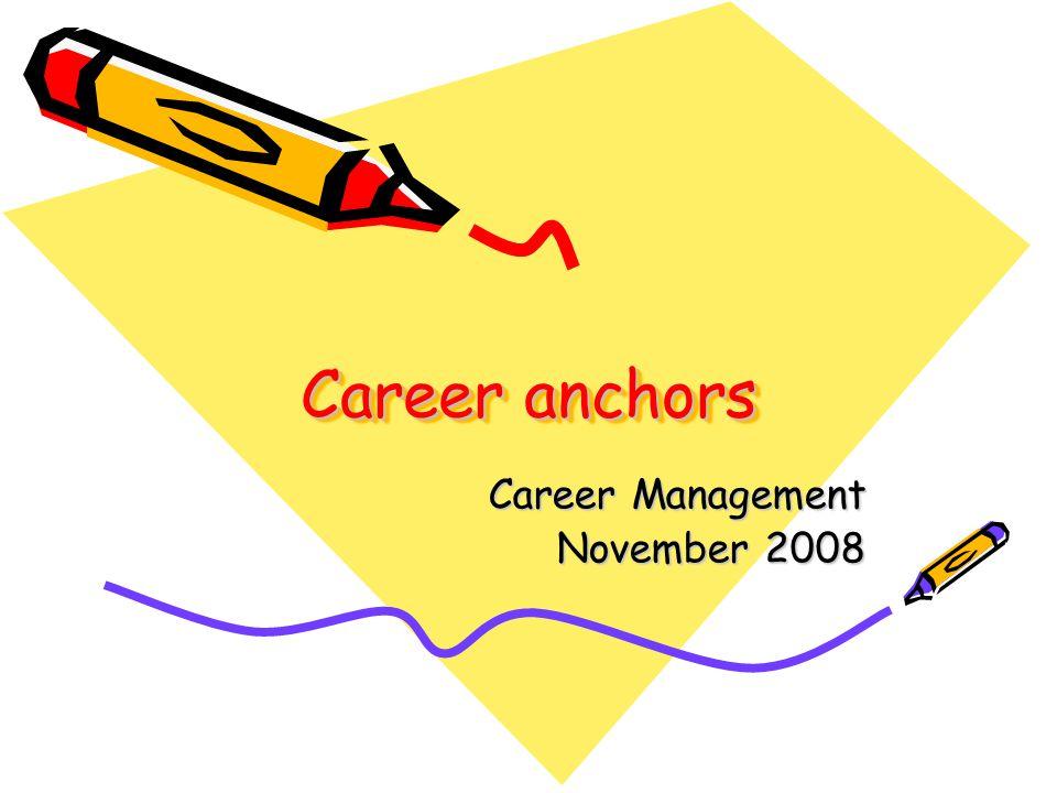 Career anchors Career Management November 2008