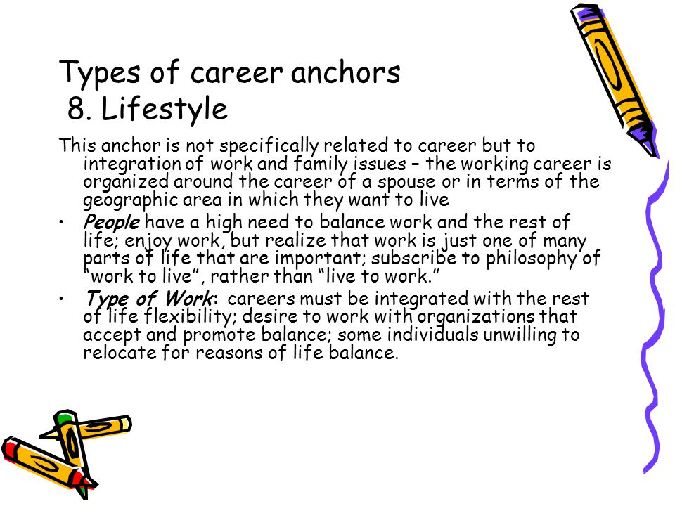 Types of career anchors 8.
