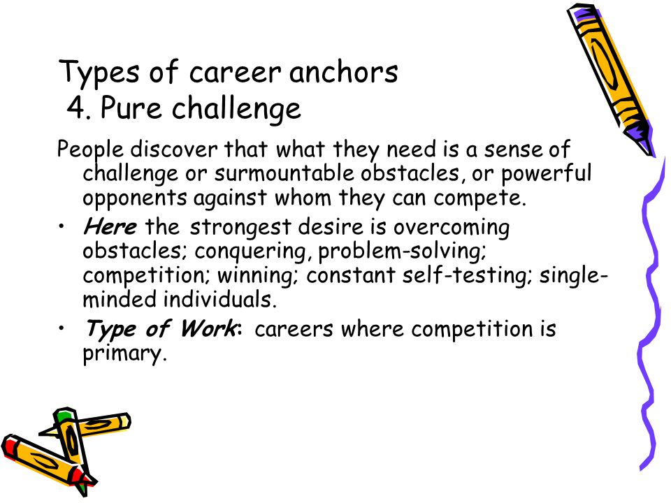 Types of career anchors 4.