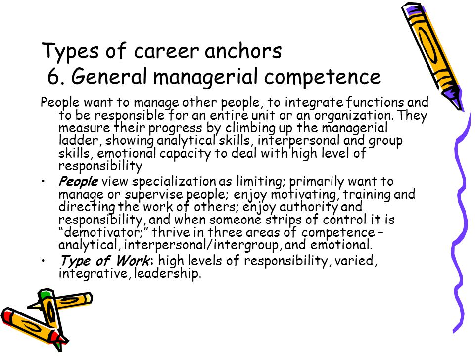 Types of career anchors 7.