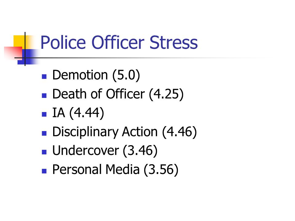 Police Officer Stress Demotion (5.0) Death of Officer (4.25) IA (4.44) Disciplinary Action (4.46) Undercover (3.46) Personal Media (3.56)