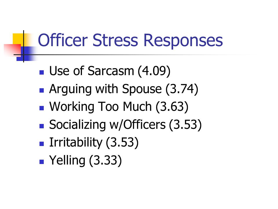 Officer Stress Responses Use of Sarcasm (4.09) Arguing with Spouse (3.74) Working Too Much (3.63) Socializing w/Officers (3.53) Irritability (3.53) Yelling (3.33)