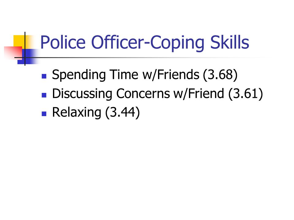 Police Officer-Coping Skills Spending Time w/Friends (3.68) Discussing Concerns w/Friend (3.61) Relaxing (3.44)