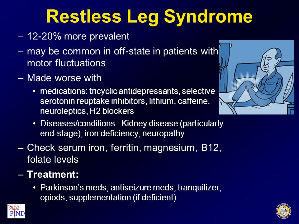 Nausea Cause/Treatment Levodopa-related: take with meals, add carbidopa, Add antinausea meds delayed GI transit time: more frequent and smaller meals