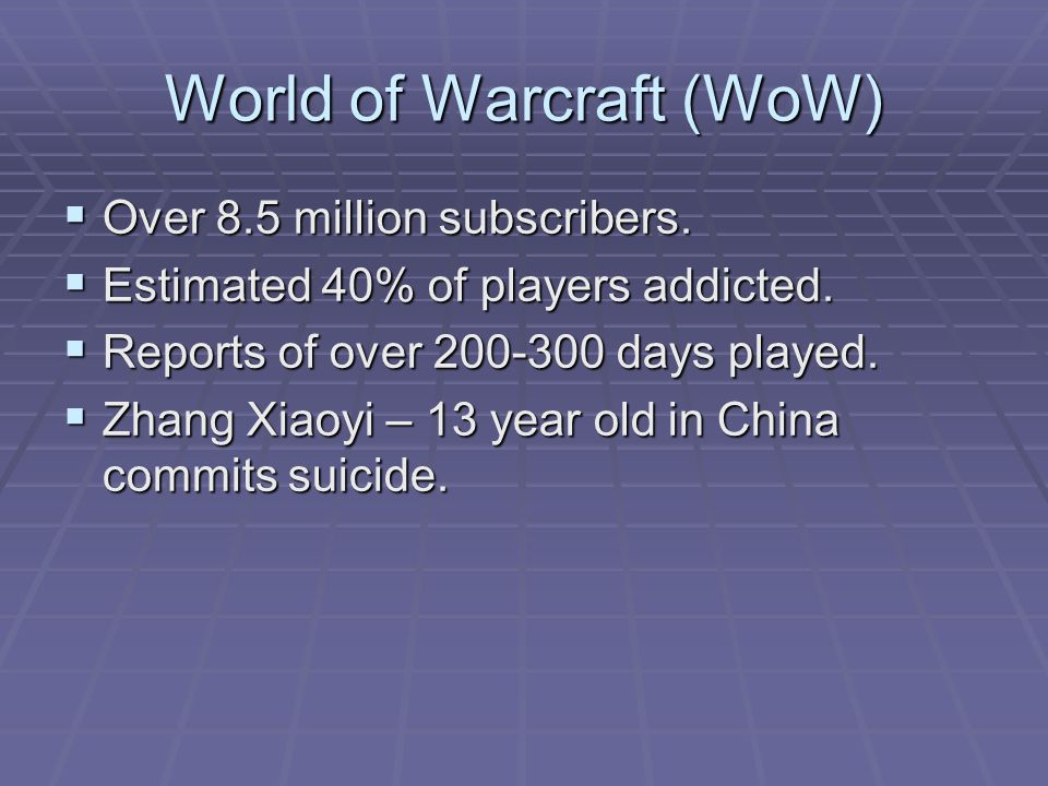 World of Warcraft (WoW)  Over 8.5 million subscribers.