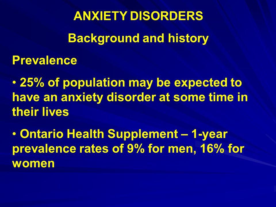 ANXIETY DISORDERS Treatments - Pharmacotherapy 3 main drugs Xanax Paxil Zoloft SSRIs, bezodiazepines, tricyclic anti- depressants, MAOs