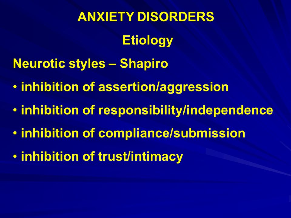 ANXIETY DISORDERS Types – Specific phobia – Diagnostic features marked and persistent fear and avoidance of specific stimulus or situation must interfere significantly with person's life must be considered excessive or unrealistic ANS arousal