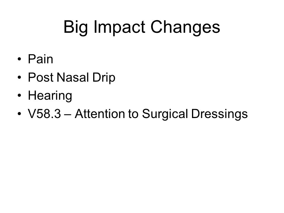 Big Impact Changes Pain Post Nasal Drip Hearing V58.3 – Attention to Surgical Dressings