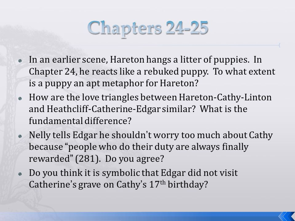  In an earlier scene, Hareton hangs a litter of puppies. In Chapter 24, he reacts like a rebuked puppy. To what extent is a puppy an apt metaphor for