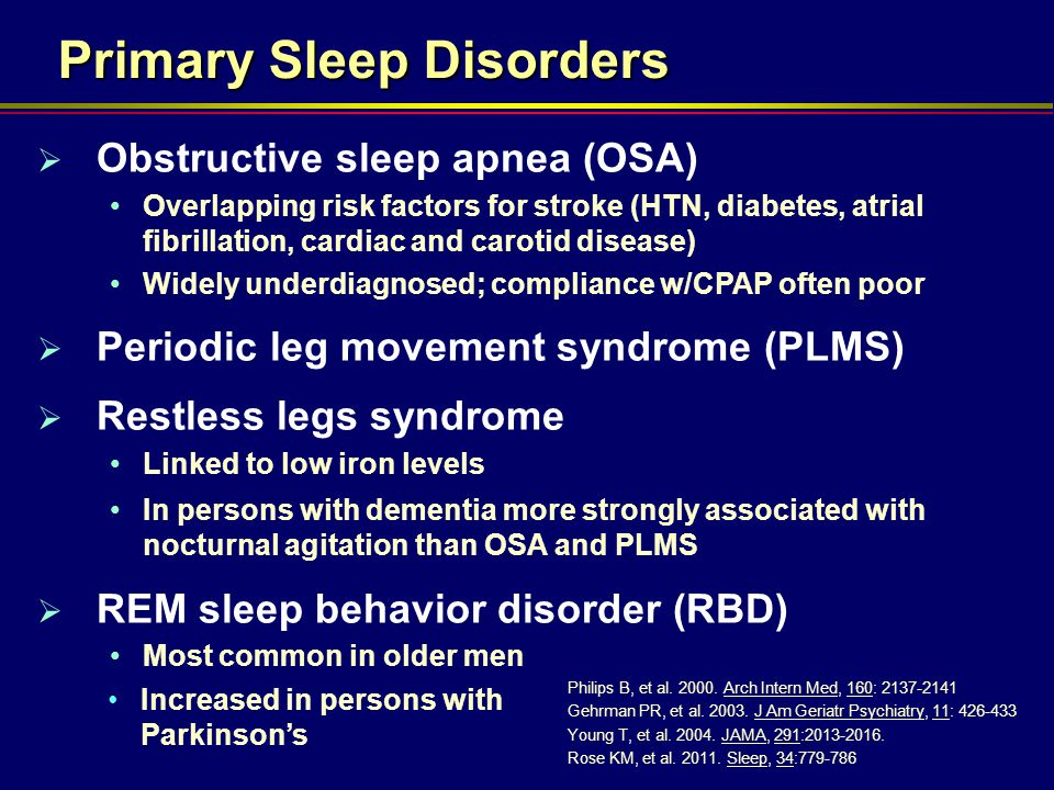 Primary Sleep Disorders  Obstructive sleep apnea (OSA) Overlapping risk factors for stroke (HTN, diabetes, atrial fibrillation, cardiac and carotid disease) Widely underdiagnosed; compliance w/CPAP often poor  Periodic leg movement syndrome (PLMS)  Restless legs syndrome Linked to low iron levels In persons with dementia more strongly associated with nocturnal agitation than OSA and PLMS  REM sleep behavior disorder (RBD) Most common in older men Philips B, et al.
