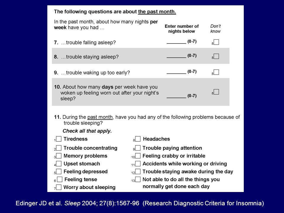 Edinger JD et al. Sleep 2004; 27(8):1567-96 (Research Diagnostic Criteria for Insomnia)