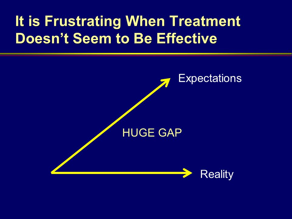 It is Frustrating When Treatment Doesn't Seem to Be Effective Expectations Reality HUGE GAP