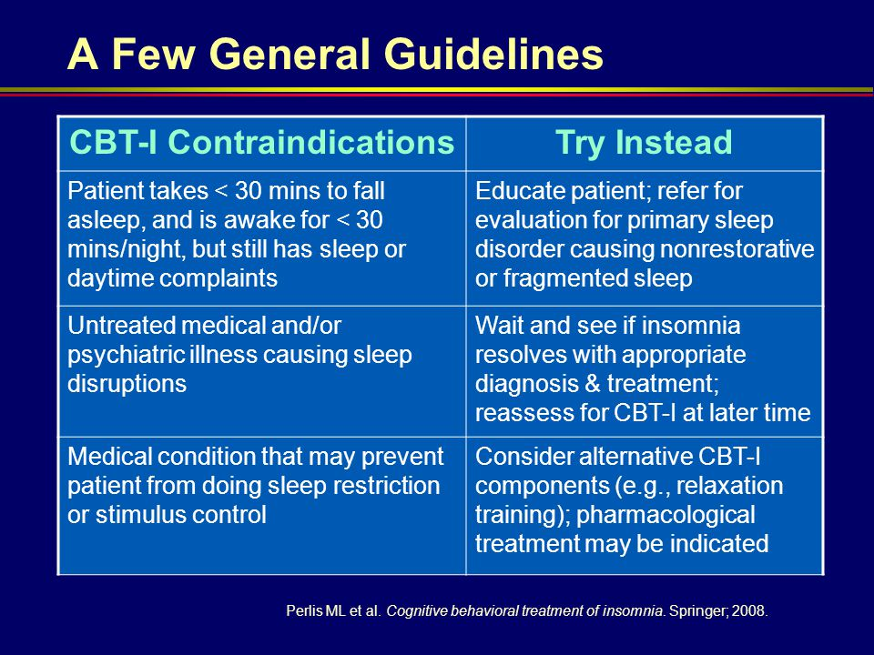 CBT-I ContraindicationsTry Instead Patient takes < 30 mins to fall asleep, and is awake for < 30 mins/night, but still has sleep or daytime complaints