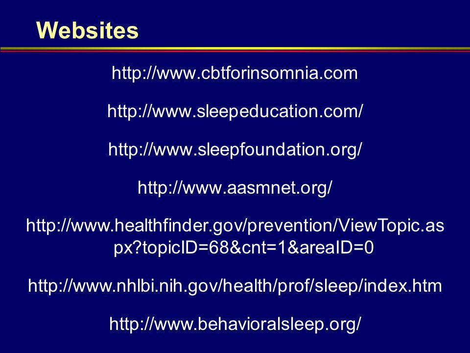 Websites http://www.cbtforinsomnia.com http://www.sleepeducation.com/ http://www.sleepfoundation.org/ http://www.aasmnet.org/ http://www.healthfinder.gov/prevention/ViewTopic.as px?topicID=68&cnt=1&areaID=0 http://www.nhlbi.nih.gov/health/prof/sleep/index.htm http://www.behavioralsleep.org/