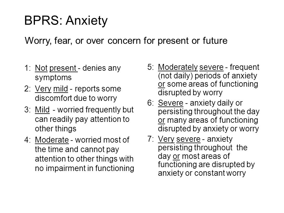 BPRS: Anxiety 1:Not present - denies any symptoms 2:Very mild - reports some discomfort due to worry 3:Mild - worried frequently but can readily pay attention to other things 4:Moderate - worried most of the time and cannot pay attention to other things with no impairment in functioning 5:Moderately severe - frequent (not daily) periods of anxiety or some areas of functioning disrupted by worry 6:Severe - anxiety daily or persisting throughout the day or many areas of functioning disrupted by anxiety or worry 7:Very severe - anxiety persisting throughout the day or most areas of functioning are disrupted by anxiety or constant worry Worry, fear, or over concern for present or future