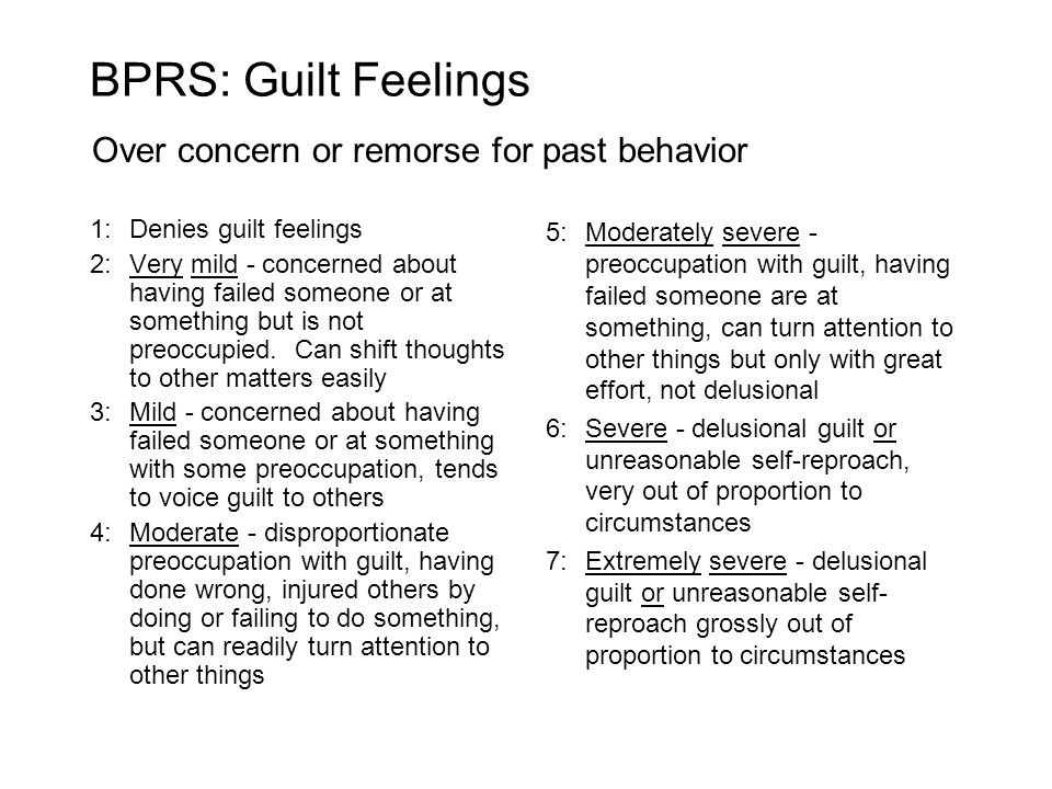 1:Denies guilt feelings 2:Very mild - concerned about having failed someone or at something but is not preoccupied.