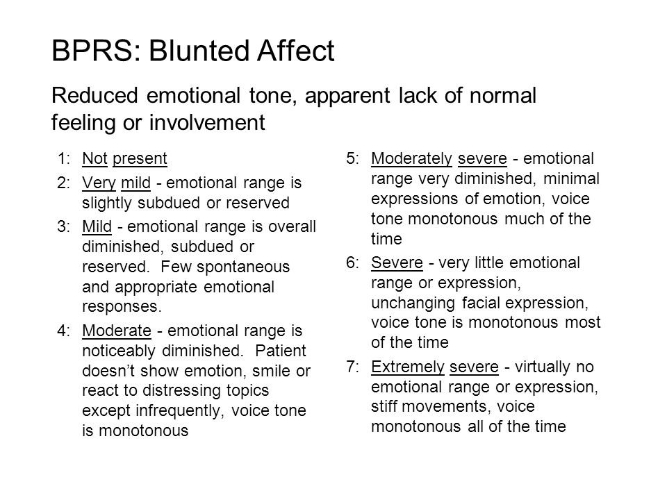 1:Not present 2:Very mild - emotional range is slightly subdued or reserved 3:Mild - emotional range is overall diminished, subdued or reserved.