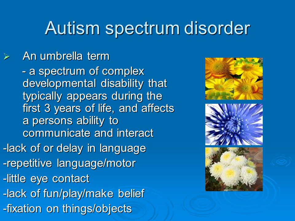 Autism spectrum disorder  An umbrella term - a spectrum of complex developmental disability that typically appears during the first 3 years of life, and affects a persons ability to communicate and interact - a spectrum of complex developmental disability that typically appears during the first 3 years of life, and affects a persons ability to communicate and interact -lack of or delay in language -repetitive language/motor -little eye contact -lack of fun/play/make belief -fixation on things/objects