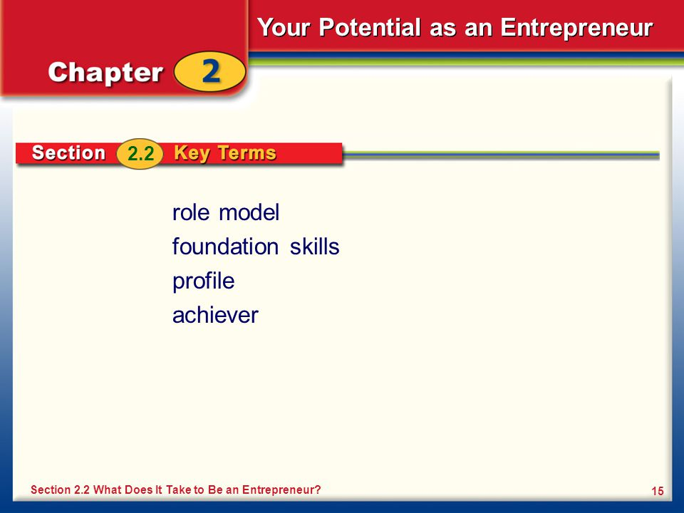 Your Potential as an Entrepreneur 15 Section 2.2 What Does It Take to Be an Entrepreneur? 2.2 role model foundation skills profile achiever