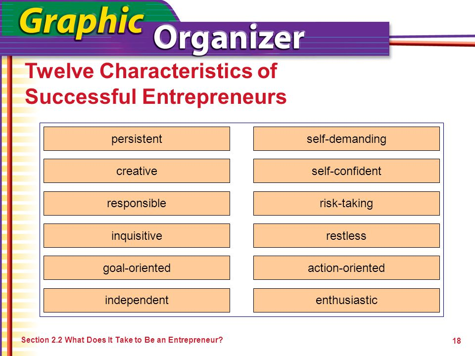 Twelve Characteristics of Successful Entrepreneurs Section 2.2 What Does It Take to Be an Entrepreneur? 18 persistent creative responsible inquisitive