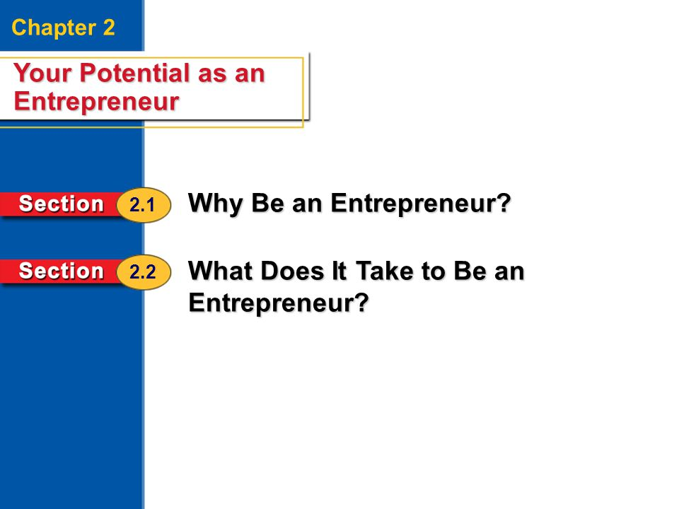 Your Potential as an Entrepreneur 2 Chapter 2 Your Potential as an Entrepreneur Why Be an Entrepreneur? What Does It Take to Be an Entrepreneur? 2.1 2