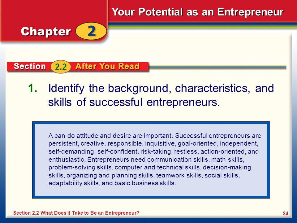 Your Potential as an Entrepreneur 24 1.