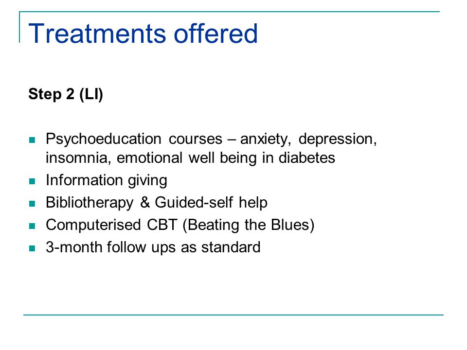 Treatments offered Step 2 (LI) Psychoeducation courses – anxiety, depression, insomnia, emotional well being in diabetes Information giving Bibliotherapy & Guided-self help Computerised CBT (Beating the Blues) 3-month follow ups as standard