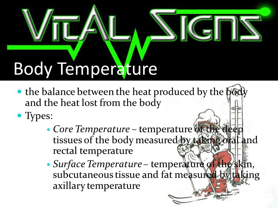 METHODS of Temperature Taking: RECTAL: most accurate measurement of temperature Nursing Considerations: Assist client to assume lateral position/sims position.
