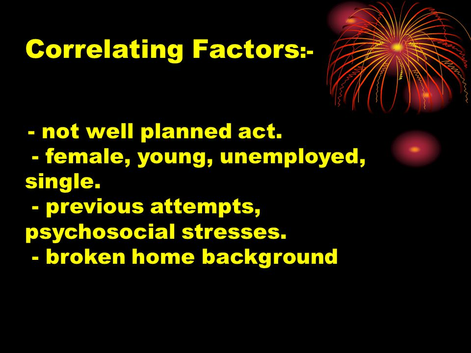 Correlating Factors :- - not well planned act. - female, young, unemployed, single.