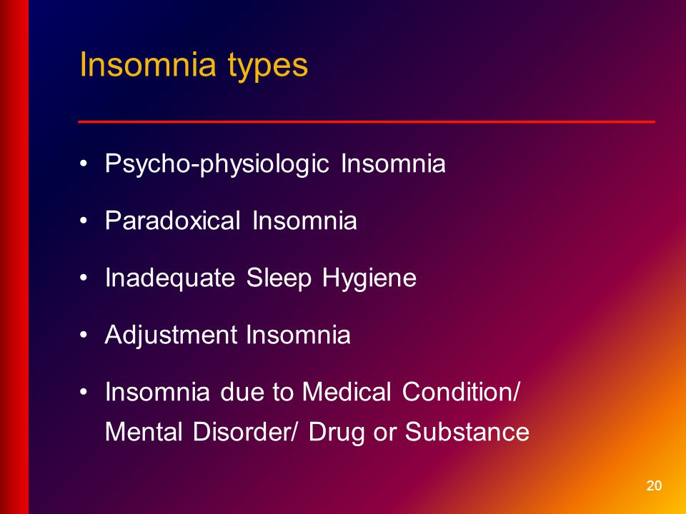 20 Insomnia types __________________________ Psycho-physiologic Insomnia Paradoxical Insomnia Inadequate Sleep Hygiene Adjustment Insomnia Insomnia due to Medical Condition/ Mental Disorder/ Drug or Substance