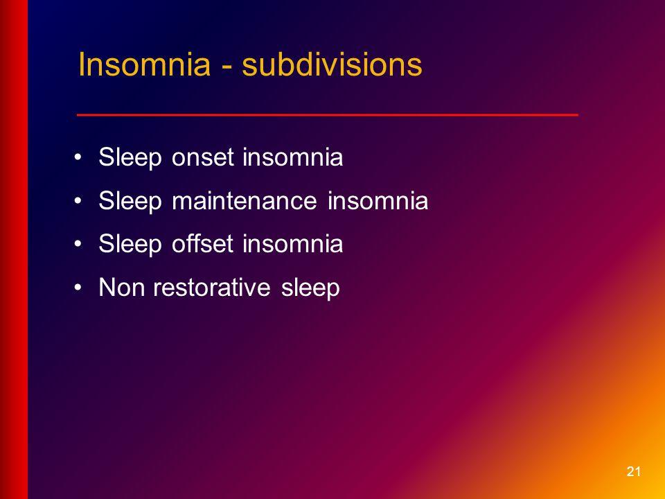 Sleep onset insomnia Sleep maintenance insomnia Sleep offset insomnia Non restorative sleep 21 Insomnia - subdivisions ___________________________
