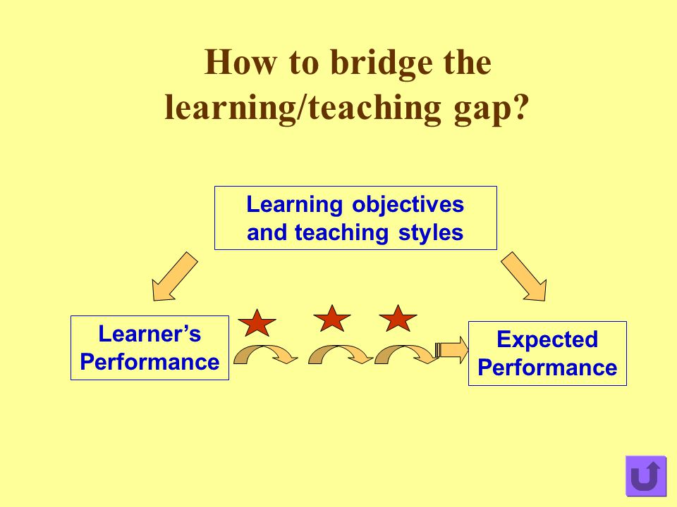 How to bridge the learning/teaching gap? Expected Performance Learner's Performance Learning objectives and teaching styles