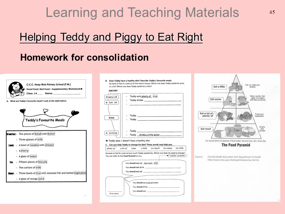 45 Helping Teddy and Piggy to Eat Right Homework for consolidation Learning and Teaching Materials