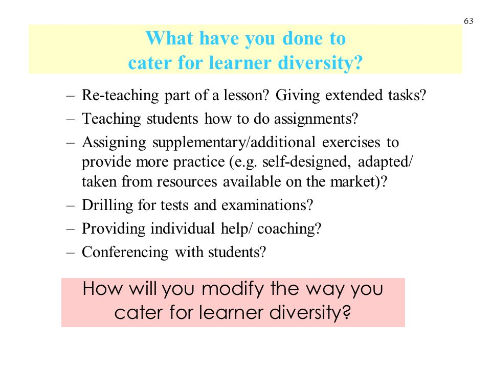 63 What have you done to cater for learner diversity? –Re-teaching part of a lesson? Giving extended tasks? –Teaching students how to do assignments?
