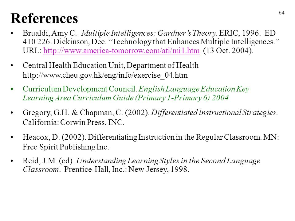 "64 Brualdi, Amy C. Multiple Intelligences: Gardner's Theory. ERIC, 1996. ED 410 226. Dickinson, Dee. ""Technology that Enhances Multiple Intelligences."