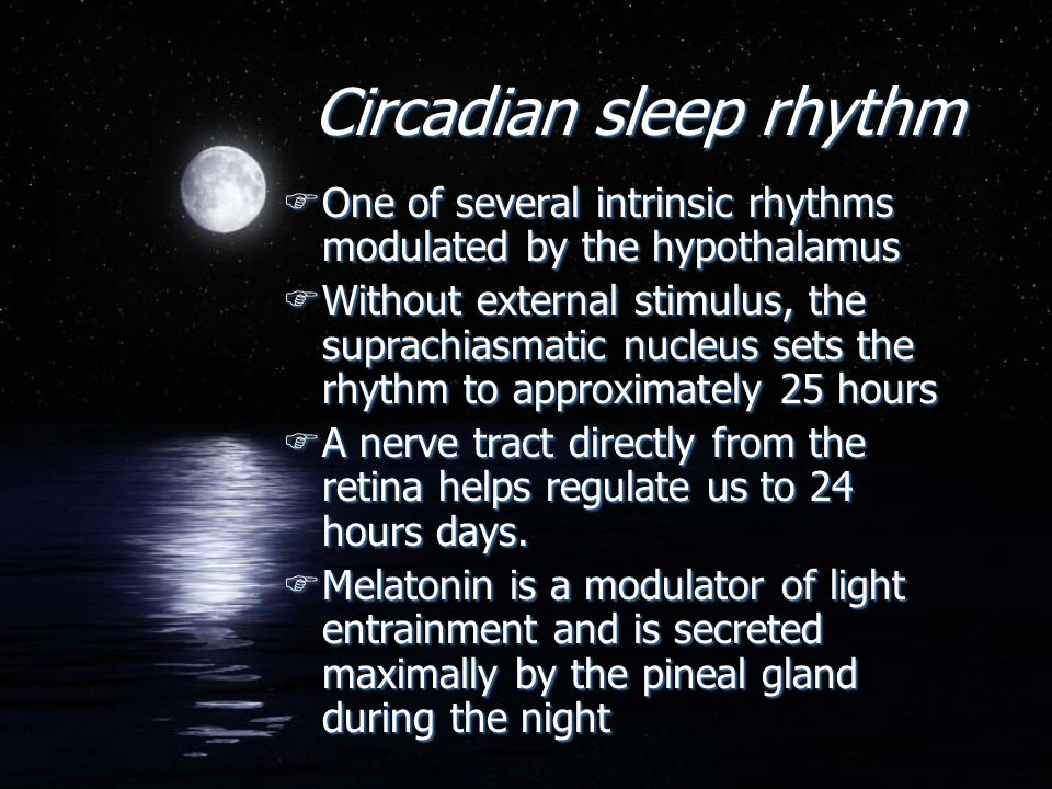 Circadian sleep rhythm FOne of several intrinsic rhythms modulated by the hypothalamus FWithout external stimulus, the suprachiasmatic nucleus sets th