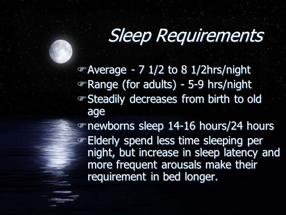 Sleep Requirements FAverage - 7 1/2 to 8 1/2hrs/night FRange (for adults) - 5-9 hrs/night FSteadily decreases from birth to old age Fnewborns sleep 14
