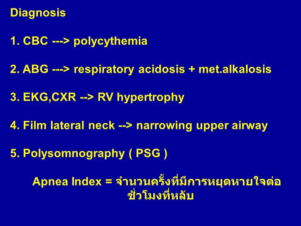 Diagnosis 1. CBC ---> polycythemia 2. ABG ---> respiratory acidosis + met.alkalosis 3. EKG,CXR --> RV hypertrophy 4. Film lateral neck --> narrowing u