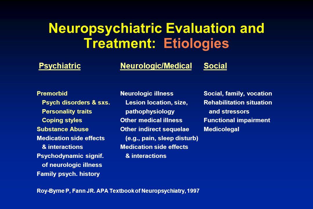 Neuropsychiatric Evaluation and Treatment: Etiologies PsychiatricNeurologic/MedicalSocial PremorbidNeurologic illnessSocial, family, vocation Psych di