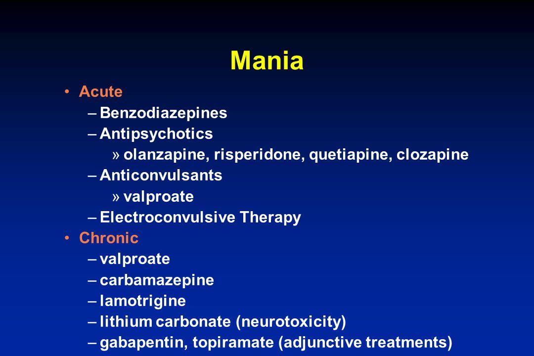 Mania Acute –Benzodiazepines –Antipsychotics »olanzapine, risperidone, quetiapine, clozapine –Anticonvulsants »valproate –Electroconvulsive Therapy Ch