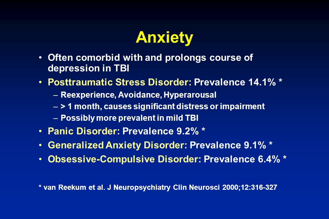 Anxiety Often comorbid with and prolongs course of depression in TBI Posttraumatic Stress Disorder: Prevalence 14.1% * –Reexperience, Avoidance, Hyper