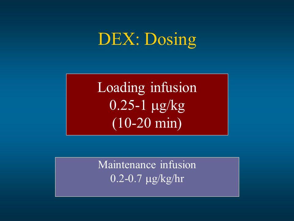 DEX: Dosing Loading infusion 0.25-1  g/kg (10-20 min) Maintenance infusion 0.2-0.7  g/kg/hr